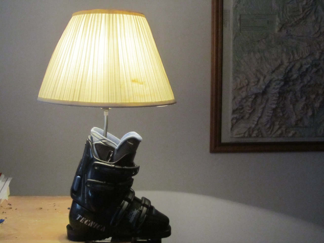 Made from a free pair of ski boots, a lamp from a thrift store for $3.00, a piece of scrap wood fitted into the boot wit a hole drilled into it , and new Westinghouse nut and washers from Home Depot.